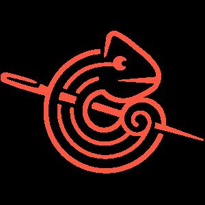 un Caméléon enroulé autour d'une aiguille, il s'agit du logo de Caméléon Couture Création