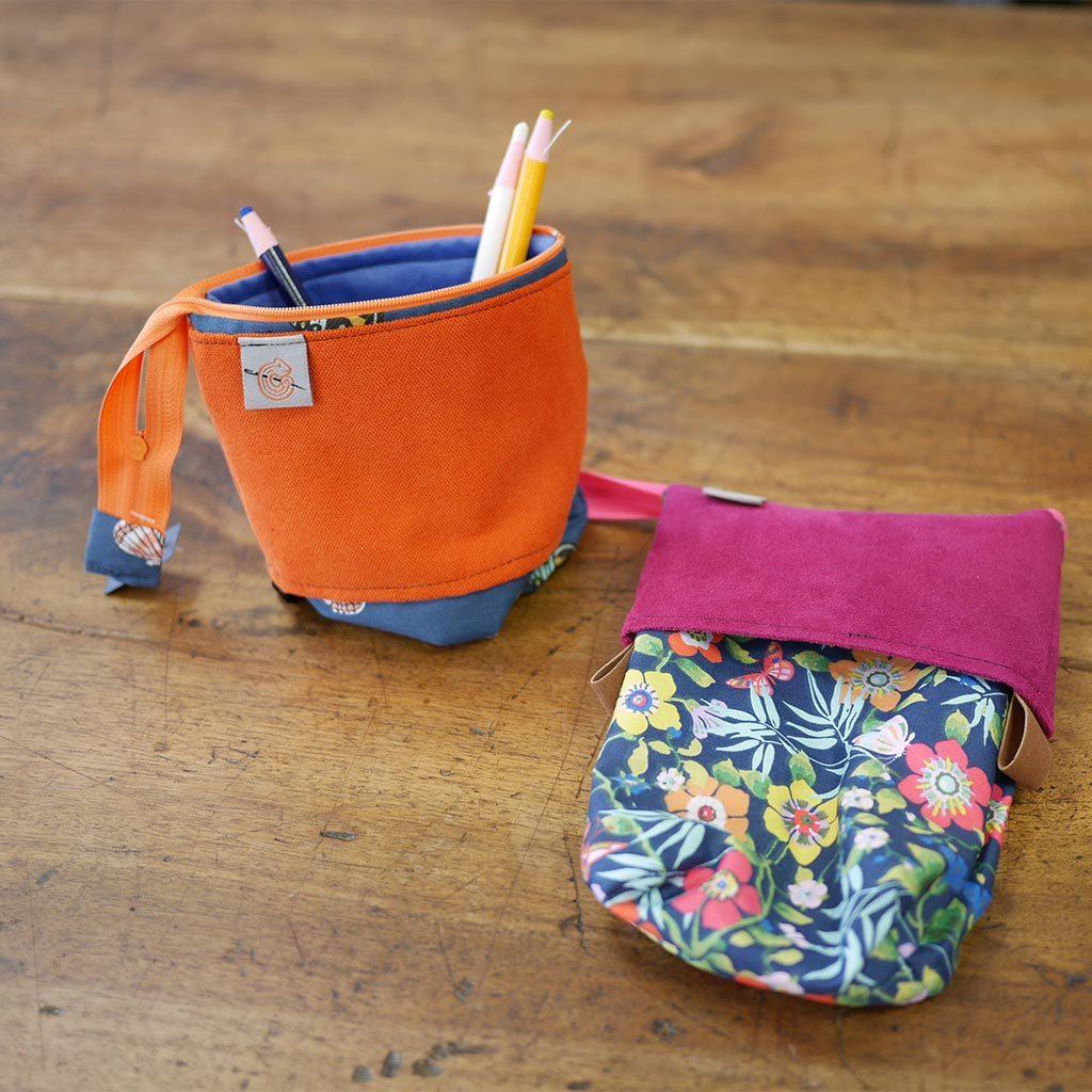 Trousse Pot à crayons en tissus colorés