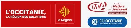 Logos de la Région Occitanie et Chambre des Métiers